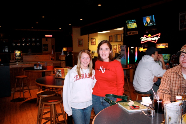 My friend Shelley and I in Columbia MO watching the Huskers!