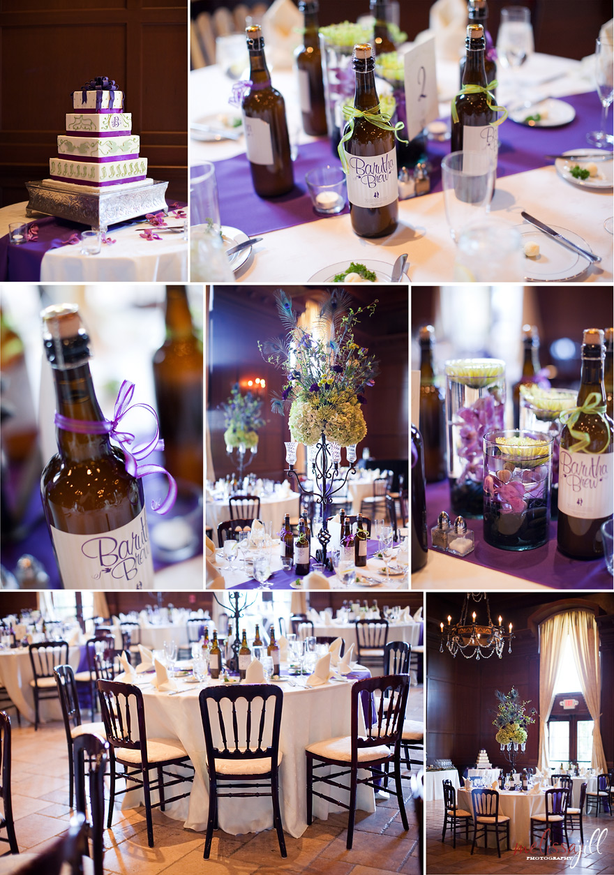 black and purple wedding table settings